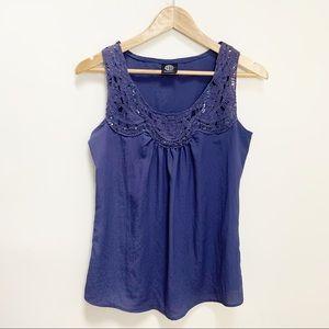 bobeau embellished crochet sleeveless blouse S